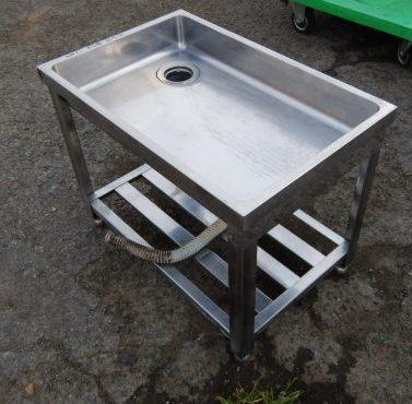 業務用 ステンレス 1槽 シンク W70 D45 H55cm 厨房 手洗い 野菜 足 ペット 洗い 小型【中古】