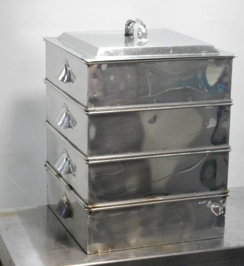 ステンレス 角蒸し器 40cm 3段 内寸W395D390深100mm 外寸W48D42H58cm セイロ 蒸篭【中古】