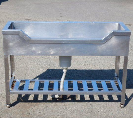 業務用 ステンレス 1槽 舟形 シンク W120 D45 H80cm 厨房 槽内寸W1110D345mm【中古】【店頭受取対応商品】