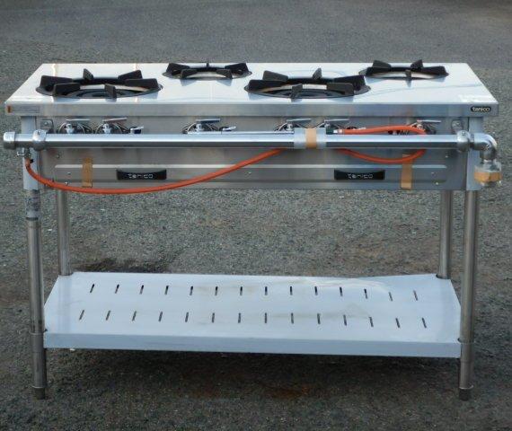2016年製 タニコー S-TGT-120 業務用 4口 コンロ LP ガス テーブル W120D60(+配管)H80cm 66kg プロパン 未使用品【中古】【店頭受取対応商品】
