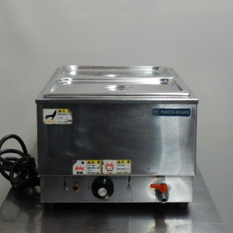 【中古】2006年製 ニチワ TEW-C 業務用 湯煎式 フード ウォーマー 1/2ホテルパン×2 深15cm 8.6L W350D550(+40)H260mm たて 100V 900W 14kg