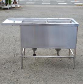 【中古】マルゼン 業務用 ステンレス 2槽 ソイルド シンク W130 D63 H82~85cm 厨房 槽内寸W45D47深35cm 食洗機 食器洗浄機 用