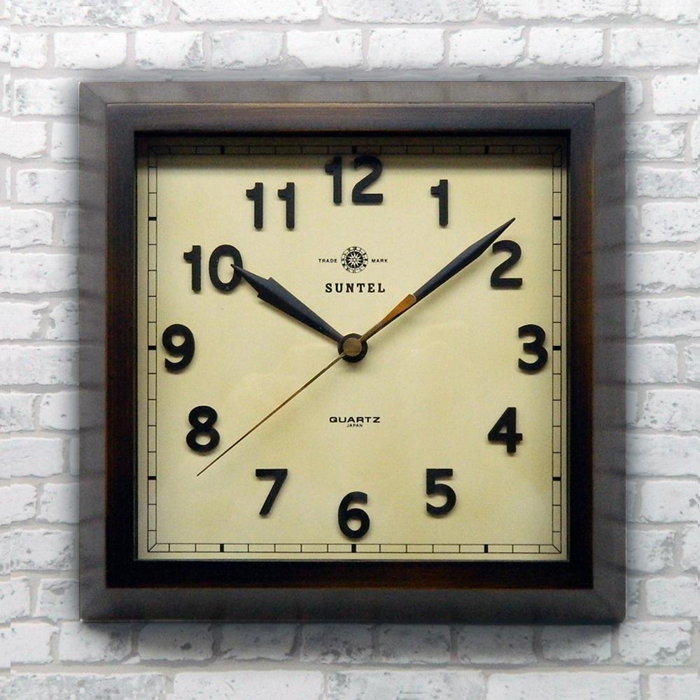 日本製 さんてる 天然木 アンティーク 角型電波時計 「スクエア」