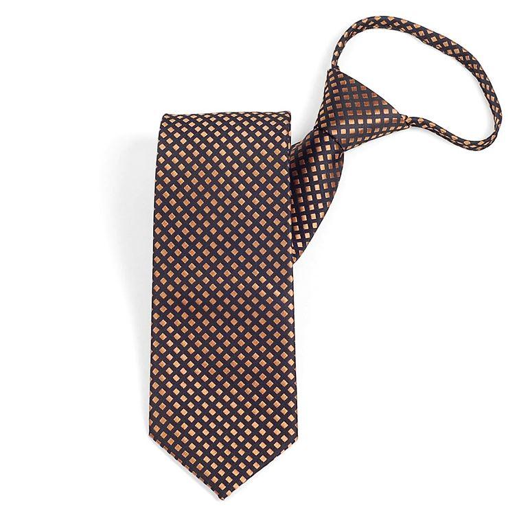 秀逸 ネクタイをいつでも 予約販売 どこでも かんたんに瞬間着用 だから 便利 プレゼントにも 制服やイベントの衣装にもおすすめ ワンタッチネクタイ ビジネス オレンジ イエロー色 ntm6091 ネクタイ スクエアパターン 大剣幅8.5cm