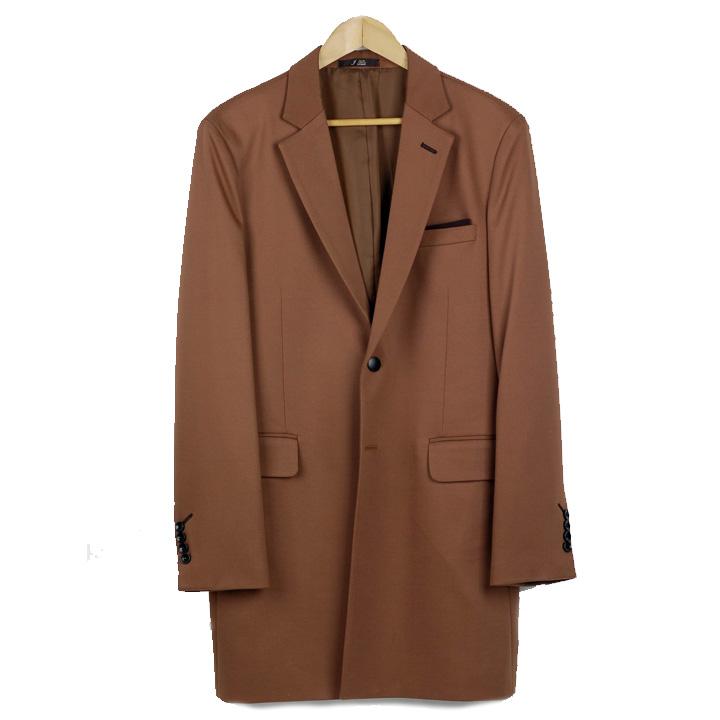 ロングジャケット メンズ スリム コート 配色襟(裏) チーフ飾り ダークベージュ チェスターコート ブラウン XLサイズ