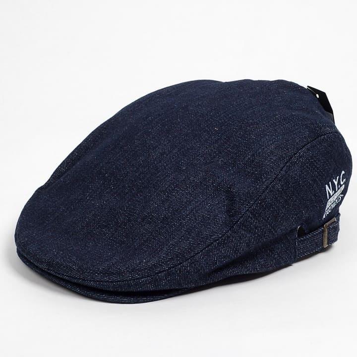 デニム素材のカジュアルな雰囲気にNYC文字の刺繍がよりスマートな感じでGOOD カジュアルで自然とアウトドアな雰囲気の春夏新作ハンチング帽です ハンチング ※アウトレット品 メンズ レディース 開店記念セール 紺 ネイビー デニム 58cm NAVY NYC刺繍 帽子 キャップ 調整ベルト付き サイドスナップ