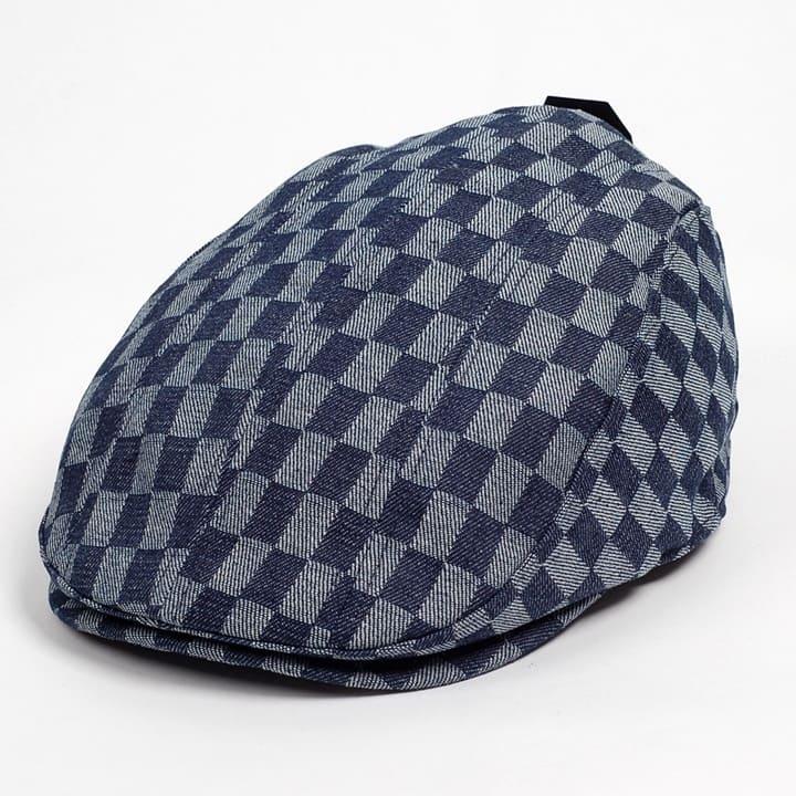 数量は多 デニム素材のチェック柄がカジュアルで洗練されたな雰囲気のハンチング帽子 返品交換不可 カジュアルで都会的な雰囲気の春夏新作ハンチング帽です ハンチング メンズ レディース ネイビー デニム NAVY 58cm 帽子 チェッカー ブロックチェック柄 裏調整ベルト付き