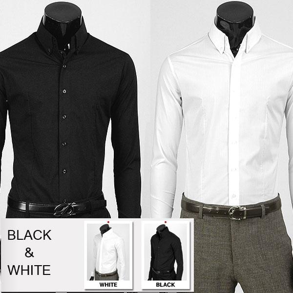 スリムシャツ スリムフィット ドゥエボットーニ ボタンダウン 白 黒 シワに強い 永遠の定番 2ボタン 年間定番 長袖 ワイシャツ yp15 ストレッチ素材 ベーシック ストレッチ