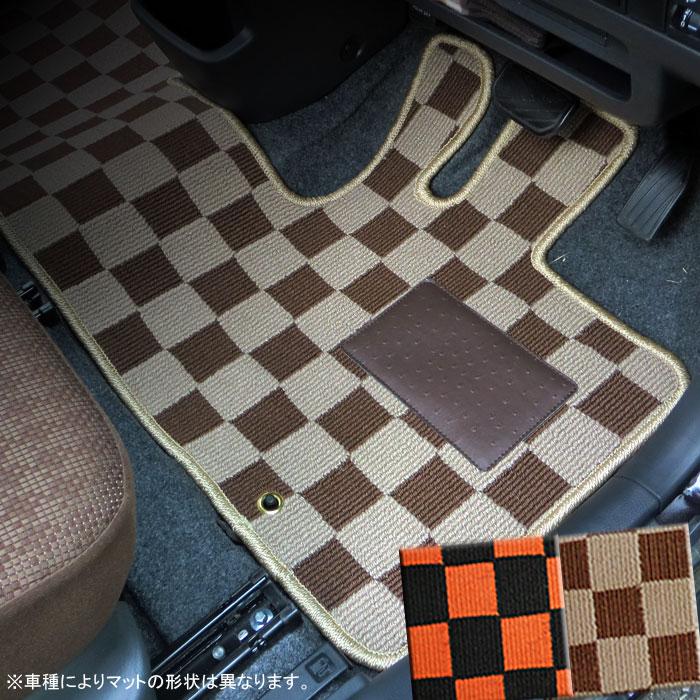 トヨタ BB QNC20/QNC21/QNC25 カジュアルチェックフロアマット 1台分 フロント+リア
