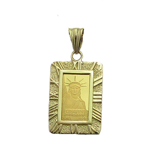 【代引き手数料、送料無料】人類の永遠の象徴を純金でレリーフした傑作  信頼のクレジットスイスの自由の女神2gペンダント