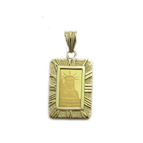 【代引き手数料、送料無料】人類の永遠の象徴を純金でレリーフした傑作  信頼のクレジットスイスの自由の女神1gペンダント