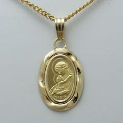【代引き手数料、送料無料】聖母に見守られて安らぎのひと時を 純金聖母マリア1gペンダント