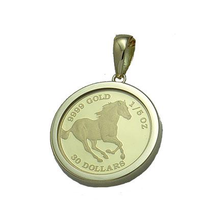 【代引き手数料、送料無料】ツバルの国の野生馬を純金でレリーフ 定番シンプルガラス入りツバル馬1/5オンス金貨ペンダント