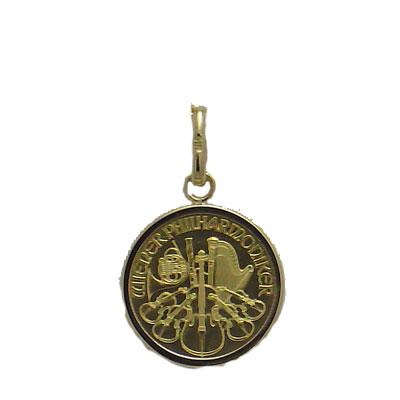 【代引き手数料、送料無料】オーストリア造幣局保証のウィーン金貨 ウィーンハーモニー1/25オンス金貨ペンダント