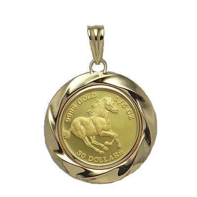 純金コイン/18金枠ツバルホース1/5オンス金貨ペンダント 【コインインゴット/インゴット/金/インゴットペンダント】