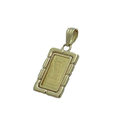 【代引き手数料、送料無料】人類の永遠の象徴を純金でレリーフした傑作  信頼のクレジットスイスのリバティー1gペンダント