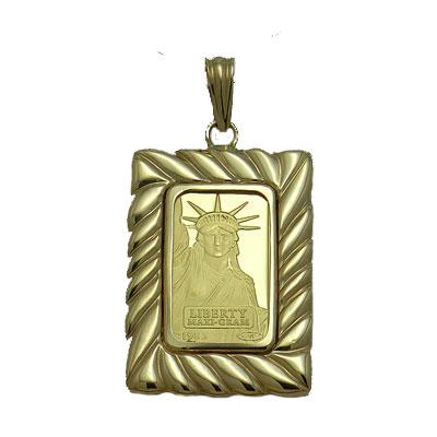 【代引き手数料、送料無料】人類の永遠の象徴を純金でレリーフした傑作  信頼のクレジットスイスのリバティー5gペンダント