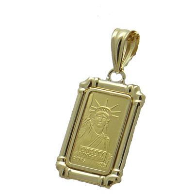 【代引き手数料、送料無料】人類の永遠の象徴を純金でレリーフした傑作 信頼のクレジットスイスのリバティー2gペンダント