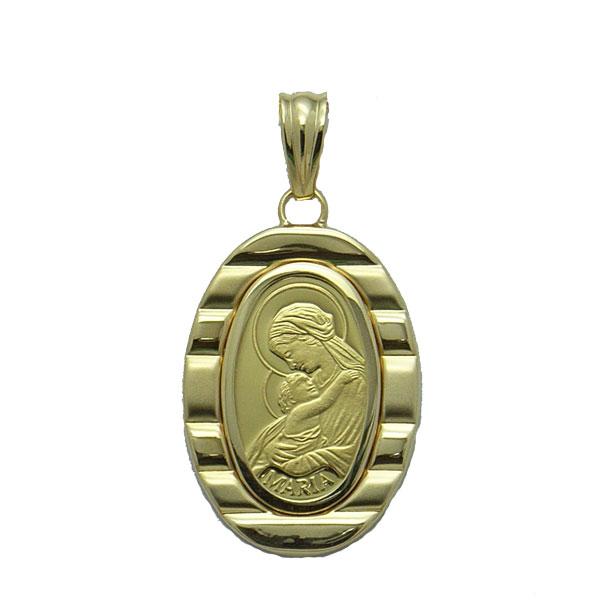 【代引き手数料、送料無料】聖母に見守られて安らぎのひと時を  聖母マリア様を純金でレリーフした2.5gペンダント