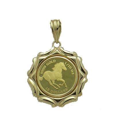 【代引き手数料、送料無料】ツバル国の躍動する野生馬を純金でレリーフ  ツバル馬1/10オンス金貨ペンダント