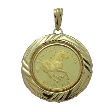 【代引き手数料、送料無料】卓越した技術を誇るパース造幣局製造 ツバル馬1/5オンス金貨ペンダント