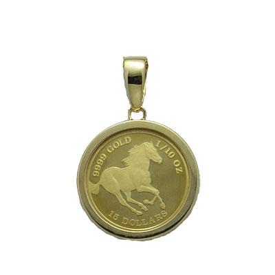 【代引き手数料、送料無料】ツバルの国の野生馬を純金でレリーフ  定番シンプルガラス入りツバル馬1/10オンス金貨ペンダント