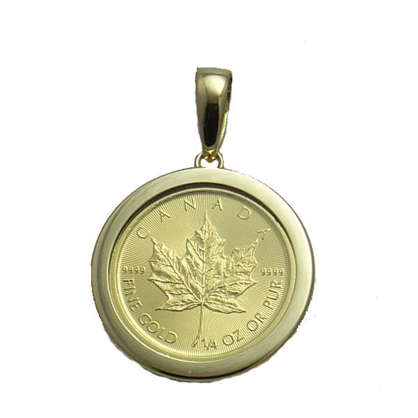 カナダ政府発行純金メイプル1/4オンスコインペンダント