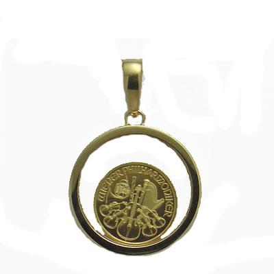 【代引き手数料、送料無料】オーストリア造幣局保証のウィーン金貨 ウィーンハーモニー1/25オンス金貨ガラス入りペンダント