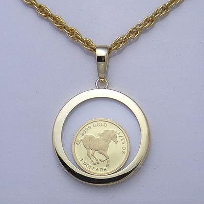 【代引き手数料、送料無料】 ツバルの国の野生馬を純金でレリーフ ツバルホース1/25オンス金貨ペンダント