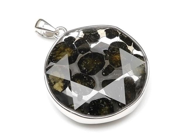 ケニア産 パラサイト セリコ隕石 ペンダントトップ 30mm No.489【1点もの】