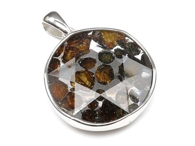 ケニア産 パラサイト セリコ隕石 ペンダントトップ 30mm No.495【1点もの】