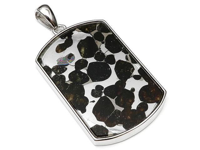 ケニア産 パラサイト セリコ隕石 ペンダントトップ 40×24mm No.586【1点もの】