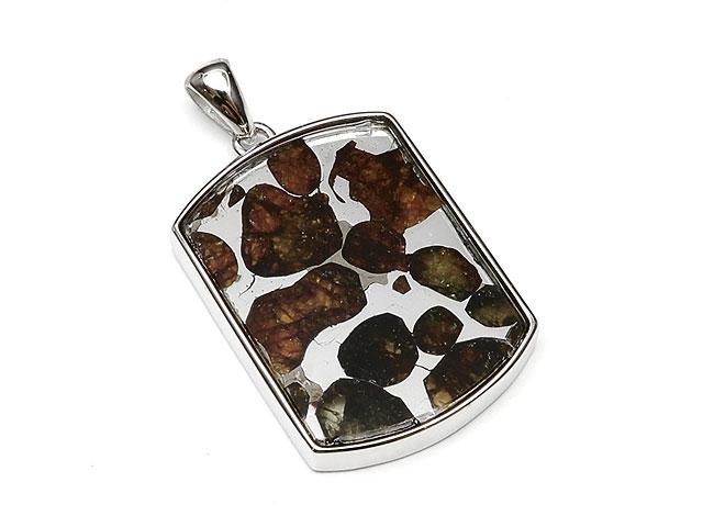 ケニア産 パラサイト セリコ隕石 ペンダントトップ 30×20mm No.591【1点もの】