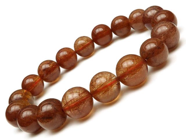 オレンジルチルクォーツ 丸玉ブレス 11~12mm No.1【1点もの】