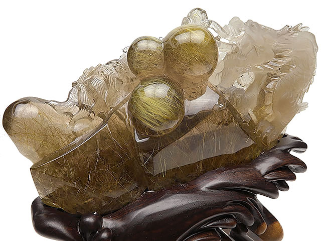 【厳選商品】ルチルクォーツ 龍彫刻 置物 No.1【1点もの】