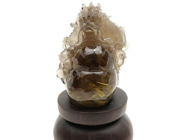 【厳選商品】ルチルクォーツ 龍彫刻 置物 No.5【1点もの】