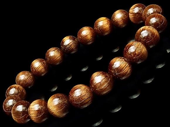 ブラウンルチルクォーツ 天然石 丸玉ブレス 1点もの タイムセール 気質アップ No.5 9mm