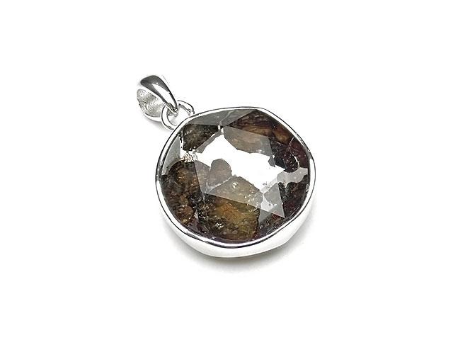ロシア産 パラサイト セイムチャン隕石 六芒星カット ペンダントトップ 17mm No.335【1点もの】