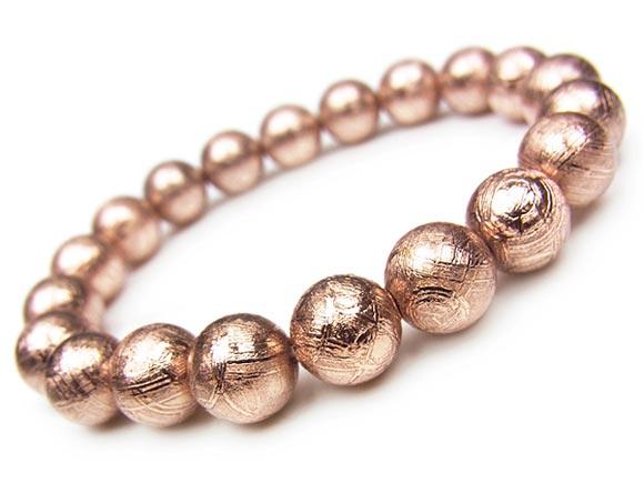 ムオニナルスタ隕石 メテオライト ピンクゴールドカラー 丸玉ブレス 10mm【1点もの】