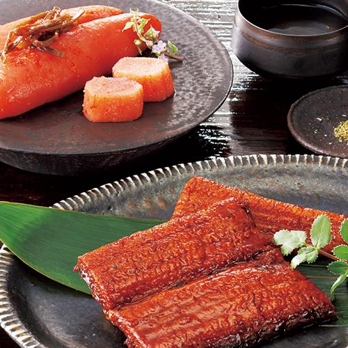 「ぎおん割烹なか川」 うなぎ蒲焼と柚子風味の明太子セット ※代引きご利用不可商品