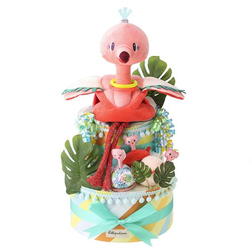 Lilliputiens(リリピュション) ダイパーケーキ/フラミンゴ&ベビー