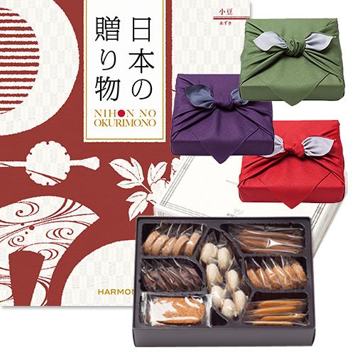 日本の贈り物 カタログギフト 小豆(あずき)+帝国ホテルクッキー 詰め合わせセット【京都・風呂敷包み】