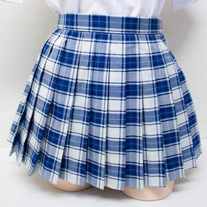 スカート ミニスカート プリーツスカート No.8412 チェック柄スカート 白×青 40cm丈 レディース 膝上丈 単品 wsk-57b