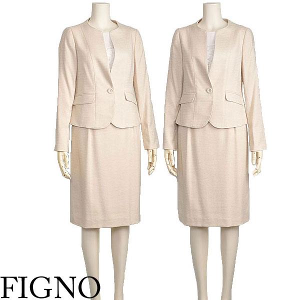 卒業式 入学式 スーツ ツイード セットアップ 母 ママ ベージュ FIGNO【40代 50代 ファッション】