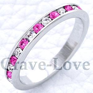 おしゃれ 割引も実施中 女性 レディースリング スワロフスキークリスタル エタニティリング 人気 ファッションリング 指環 ビジュー 返品送料無料 ダイヤモンドカラー Crave-Love フルエタニティ クレィヴ 指輪 ラブ リング ピンク
