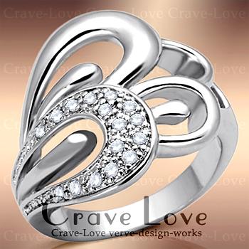 美しく素敵に飾る 曲線デザイン パヴェ リング 指輪 女性 レディース リング 大きめ 大きいサイズ もあります。トラベルジュエリー 誕生日プレゼントにも・・【 Crave-Love Jewelry bijoux Paris 】