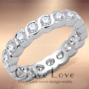 ウェーブ デザイン フルエタニティ リング/指輪ETERNITY RING/永遠の愛 エターナルリングキュービックジルコニア(ダイヤモンド色)/ プラチナシルバー色 / 結婚式や誕生日プレゼントにも・・