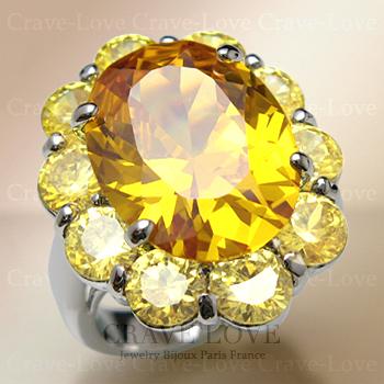 煌き輝く 大粒 イエロー トパーズ カラー レディース リング 女性 指輪 ボリューム感のある フラワーモチーフ   花 黄色 ファッション ジュエリー 大きいサイズ もあります。【 Crave-Love Bijoux Paris 】