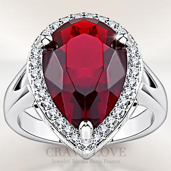 ルビー レッド カラー 大粒 ペアシェイプ レディース リング 豪華デザイン ボリューム感 ティアドロップ しずく形 洋梨形 女性 指輪 ファッション リング 大きいサイズ もあります。 トラベルジュエリー プレゼント 結婚式 などにも・・