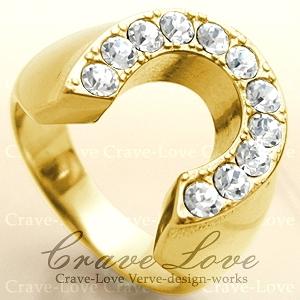 【メンズリング 男の指輪 メンズアクセサリー】ホースシュー ゴールド ステンレス メンズ リング 指輪 馬蹄形 ラッキーモチーフ 幸運 ボリューム感 幅広 ファッションリング ジュエリー 大きいサイズもあります。【 Crave-Love Bijoux Paris 】
